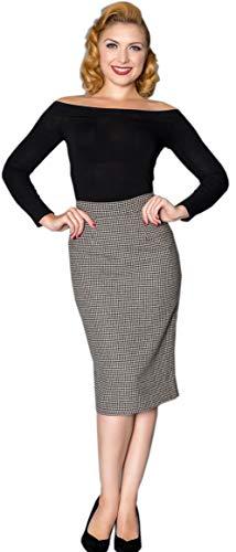 Sheen Damen Rock Loucy Hahnentritt Bleistift Pencil Skirt Schwarz XS