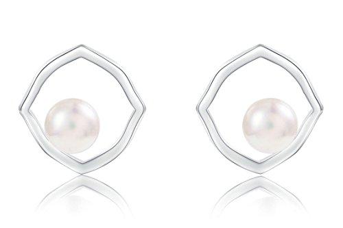 771d24663088 Epinki Plata de ley 925 Pendientes de Mujer Polígono Perlas Pendientes de.