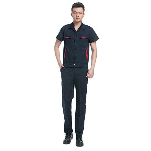 Herren Blaumann Kurzarm Arbeitsuniform arbeitsshirt work shirt Arbeitshemd Arbeitshose Arbeitskleidung set - Navy blau, 185