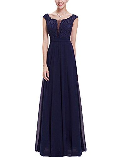 Emmani da donna in Chiffon e pizzo lungo da sera vestiti Dark Blue
