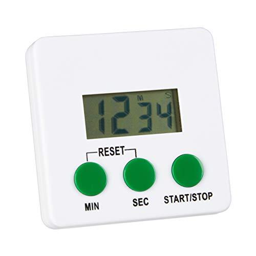 Relaxdays digitaler Küchentimer, magnetisch, LCD-Display, lauter Alarmton, Countdown & Stoppuhr, Küchenwecker, weiß