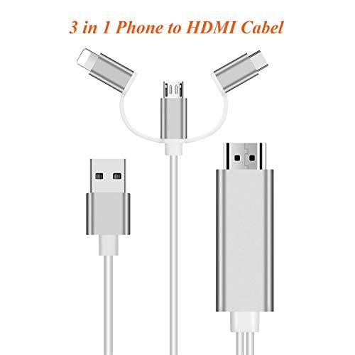 3 in 1 Telefon zu HDMI HDTV-Kabeladapter 6ft / 1.8M Mobiltelefon (Android Micro USB / Typ-C zu HDMI Kabel mit Bildschirm TV 1080P) für Telefon (ios) 8 / X / 6 / 6s / 7 / 7plus (Hdmi-telefon-tv-android)