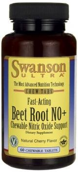 Swanson Ultra Fast Acting Beet Root Nitric Oxide (Natural Cherry Flavour, 60 Chewable Vegetarian Tablets) from Swanson Health Products