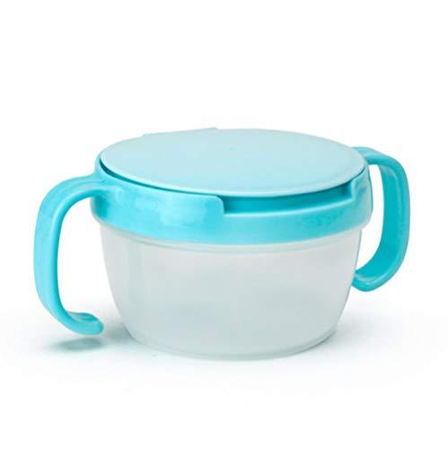 EDHG Baby Snacks Schüssel Kinder Kinder Aufbewahrung von Lebensmitteln Gerichte Anti Spill 360 Drehen Baby Feste Fütterung Platte Geschirr Baby Fütterung Stuff.Sky Blue -