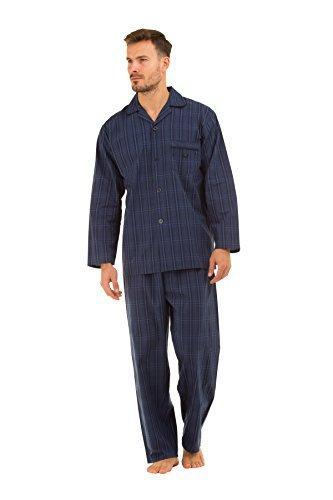 Herren HAIGMAN bedruckt 100% Baumwolle lang Pyjama Nachtwäsche Lounge Wear - groß marineblau Karomuster, Large 41-43 Chest -