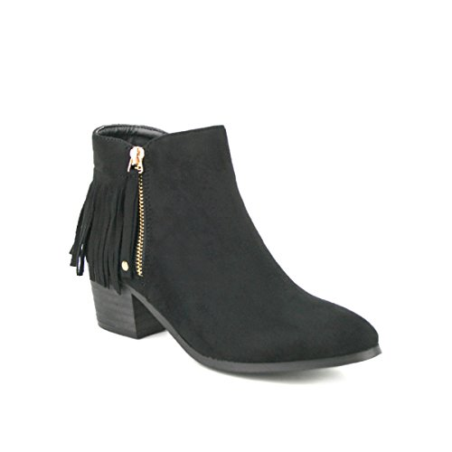 Cendriyon, Bottine Simili peau Franges ATANA Mode Chaussures Femme Noir
