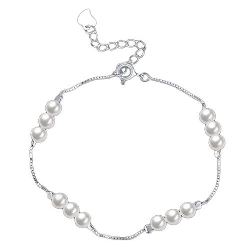 BAITER placcato argento braccialetto di perle moda donna elegante catena a mano ornamenti