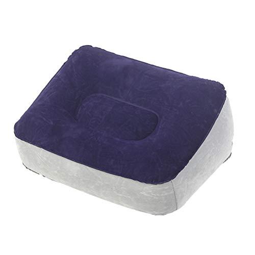 LIOOBO Aufblasbare Füße Rest Kissen Beflockung PVC Fußmassage Hocker Relax Kissen für Outdoor-Reisen (grau & blau) -