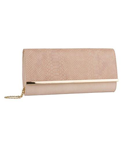 SIX - Damen Tasche, Clutchbag, Abendtasche, in rosa nude mit Schlangenleder-Optik und goldener abnehmbarer Kette, für Silvester (463-703) (Schlangenleder-tasche)