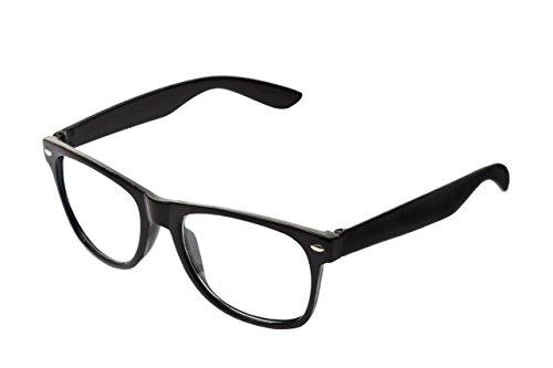 RetroUV® Klassische Brillen 80er Jahre Retro Große Horn Umrandeten Sonnenbrille Stil, Schwarz Klar,