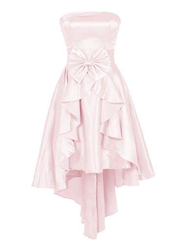 Find Dress Femme Robe de Soirée/Cocktail/Cérémonie Asymétrique Robe Bustier Courte à la mode en Satin Elastique avec Noeud de Papillon Rose