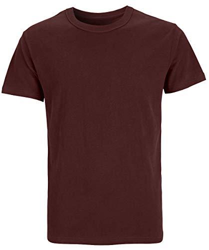 COSAVOROCK Herren Schwere Baumwolle Dicke T-Shirts (XL, Weinrot) - Rot Heavyweight Tee