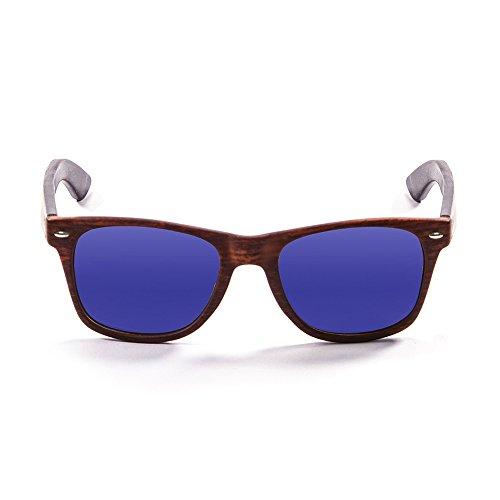 OCEAN SUNGLASSES Beach Lunettes de soleil Bamboo Brown Frame/Wood Dark Arms/Revo Blue Lens