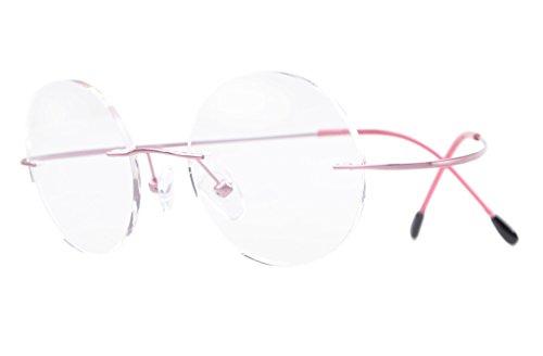 Eyekepper Titan Randlose Brillen Runde 46mm Kreis Optische Brillen Rosa
