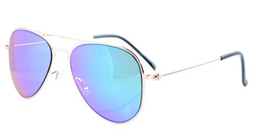 Eyekepper 3-10 Jahre alte Kinder Flieger-Sonnenbrille Gold Rahmen-Gruen Spiegel
