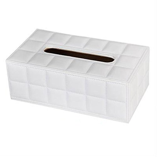 PU-Leder Tissue Box Cover Pumping Papierserviettenhalter Box - Weiß