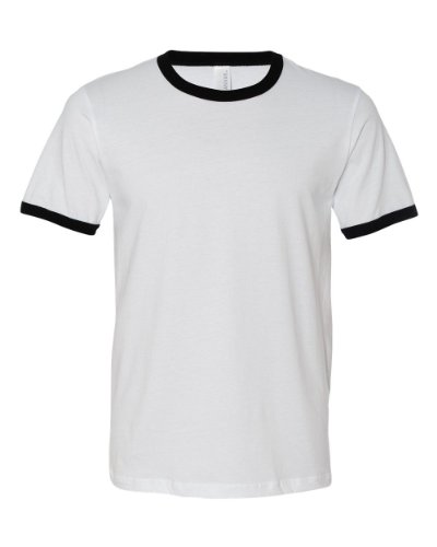 Men's Jersey Short-Sleeve Ringer T-Shirt WHITE/ BLACK XL (Ringer Sleeve Short T-shirt White)
