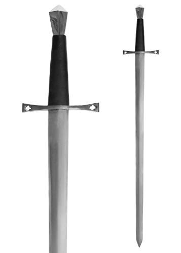 Stahl Eisen Mann Kostüm - Battle-Merchant Mittelalterliches Schwert Einhänder aus Stahl Gesamtlänge 96 cm - Metall echt Erwachsene - Templerschwert