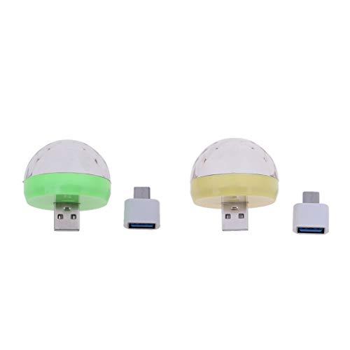 H HILABEE 2X USB/Typ C Disco Lichteffekt LED Licht RGB Projektor Bühnenbeleuchtung für Dekoration Bars Club Party, Indoor und Outdoor