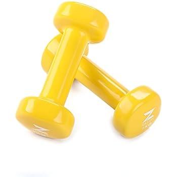 ZELUS Mancuernas de hierro fundido con revestimiento de vinilo para entrenamiento Fitness (juego de 2