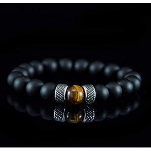 Armbänder für Herren Männer Perlenarmband Armband Kugel Tigerauge Onyx Edelstahl Silber Schwarz Braun Chakra armreif…