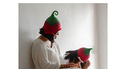 Ysting 100% feutrées chapeaux purs humides parent-enfant, main pure, design original feutrées gnome elf fairy hat- arc coloré G