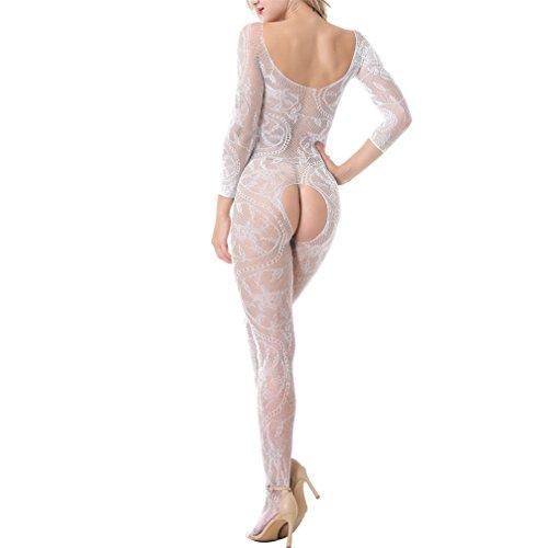GDMe Damen Unterwäschen Reizwäsche Netz Strumpfhose Bodystockings Hohle Blumen Jumpsuit Frauen Bodysuit Nachtwäsche Dessous (Bodystocking Schulter)