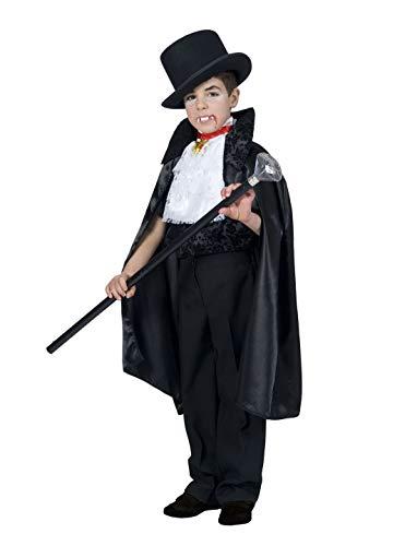 Kinder Lord Vampir Kostüm - Halloweenia - Jungen Kinder Kostüm Vampir GRAF Dracula, Vampyr Lord Dracula, perfekt für Halloween Karneval und Fasching, 140, Schwarz