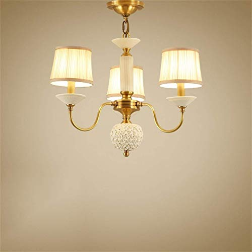 Ama gbyzhmh nello stile europeo del ristorante con lampadario in rame e rame, ristorante americano è moderno, lampadari, lampade minimaliste francesi, illuminazione,55 * 55 * 50cm-3 teste