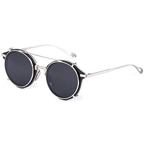 e814f42713 Dollger Clip en gafas de sol Steampunk estilo y redonda de espejo lente