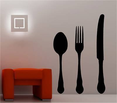 Online Design Giant Knife Fork Spoon Wall Art Sticker Vinyl Kitchen - Black