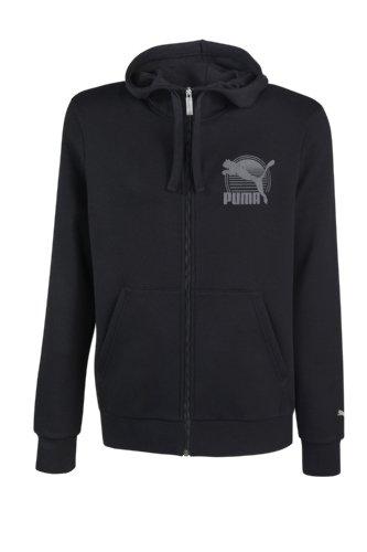 Puma–Felpa con cappuccio in pile con cappuccio Badge, Uomo, nero, XL nero