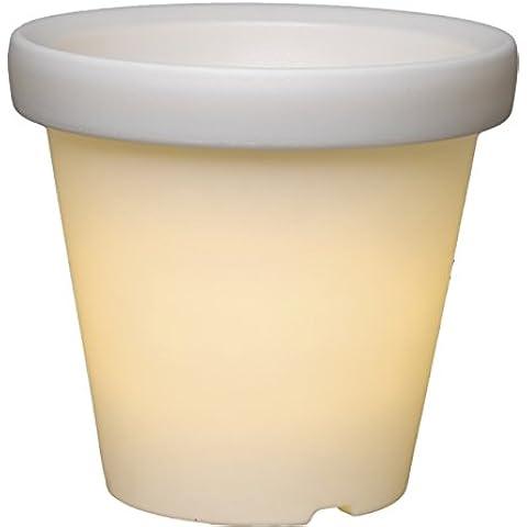 Best Season 491-42 - Maceta con luz LED (36 cm), color blanco