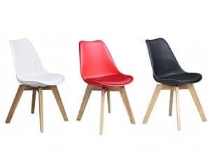 Lot de 2 chaises PADDY - Polypropylène, simili & chêne - Rouge