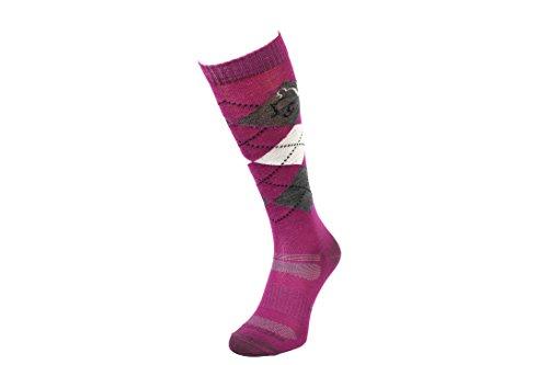 COMODO® REITSOCKEN MERINO 40% Merinowolle   Reitstrümpfe   Kniestrümpfe   Socken   Karomuster   Perfect Fit   Antibakteriell   Geruchshemmend   Feuchtigkeitsregulierend, Farbe:Wool - Pink / Gray / White;Größen:39-42