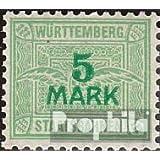 Württemberg 5 marcos con marca de agua Cruces y Anillos 1906 Staatsbahnen (sellos para los coleccionistas)