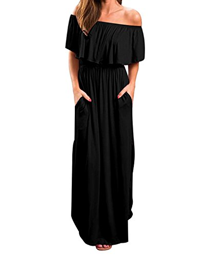 Kidsform Sommerkleider Damen Maxikleid Off Shoulder Bandeau Langes Kleid Boho Kleider Casual Strandkleider Cocktail Abendkleid Schwarz S