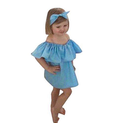 Elecenty Mama und Baby Prinzessin Kleid,Tutu Kleid Kinder Schulterfrei Strandkleid Niedlich Kleider Kinderkleidung Familie Partykleid A-Line Sommerkleid Hochzeitskleid Abendkleider (110, Baby Blau)