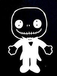 SUPERSTICKI® Jack Doll Nightmare Before Christmas Aufkleber Decal Hintergrund/Maße in inch Vinyl Sticker|Cars Trucks Vans Walls Laptop| White |5.5 x 3.75 in|CCI824 (Doll Jack)