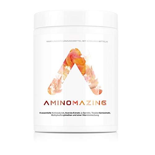 Aminomazing - NF24Essentials | Aminosäuren-Komplex hochdosiert & vegan mit 8 essentiellen Aminos, OPC Traubenkernextrakt, Acerola, L-Carnitin, MSM, Vitaminmischung - 500g Pulver