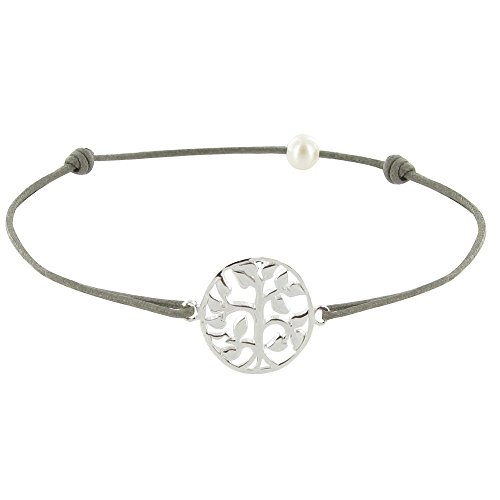 Schmuck-Les-Poulettes-Armband-aus-gewachstem-Cord-mit-Life-Tree-Anhnger-in-Sterling-Silber-dunkelgrau