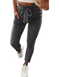 Pantalon Carotte Femme Taille Haute Rayures ou Careaux Vintage Skinny  Stretch Slim Crayon Pantalon Cigarette avec Noeud Ceinture de Bureau… b6da27e0ce9