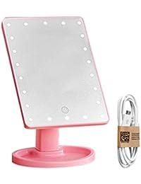 Ajustable USB 22LED Make Up Mirror Cosmetic Desktop Portable Travel Travel Countertop Maquillaje espejo para mujeres