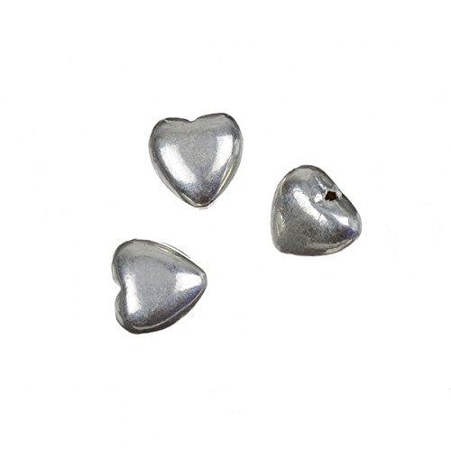 Brillante Cuore Bead in argento gioielli ciondolo 12mm Pk3