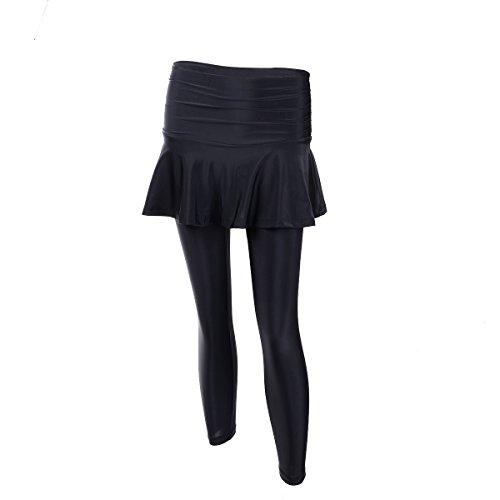 EUFANCE Femmes Faux Deux Pièces Courtes de Sport Pantalon de Yoga à séchage Rapide Collants Jambières d'Entraînement Longue Jupe Noire