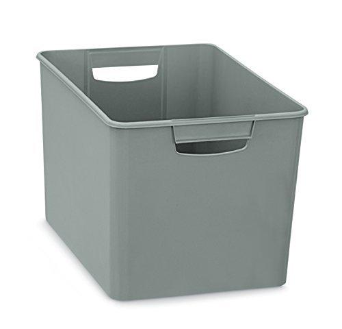 Xl aufbewahrungsbox aus kunststoff mit zwei griffen in grau nicht transparent maße