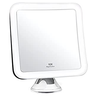 Fancii Espejo Maquillaje con Aumento de 10x, Luz LED, Poderoso Ventosa, Rotación 360° – Espejo Iluminado de Baño para Cosmético y Afeitar, Espejo Plegable para Viaje, Blanco
