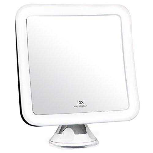 Fancii Kosmetikspiegel LED Beleuchtet mit 10-facher Vergrößerung und Starkem Saugnapf - Tageslicht LED Reise Vergrößerungsspiegel Schminkspiegel mit Beleuchtung