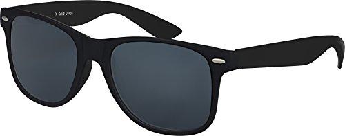 Balinco Original UV400 CAT 3 CE Vintage Unisex Retro Wayfarer Sonnenbrille - verschiedene Farben in Einzel - Doppelpack & Dreierpack wählbar (Einzelpack - Rahmen: Schwarz Matt, Gläser: Schwarz)