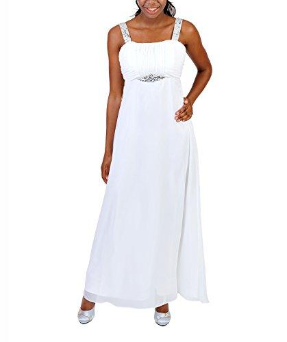 Astrapahl Damen Cocktail Kleid mit Pailletten, Maxi, Einfarbig, Gr. 44, Weiß